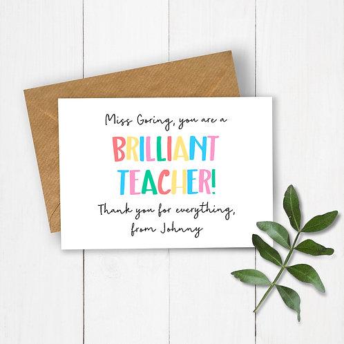 Brilliant Teacher Personalised Card