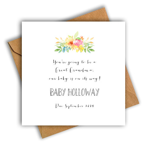 Personalised Flowers Great Grandma Pregnancy Announcement Card