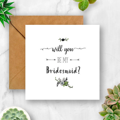 Will You Be My Bridesmaid? Flower Card
