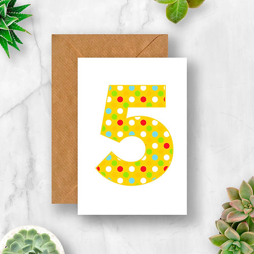 Bright 5th Birthday Number Card