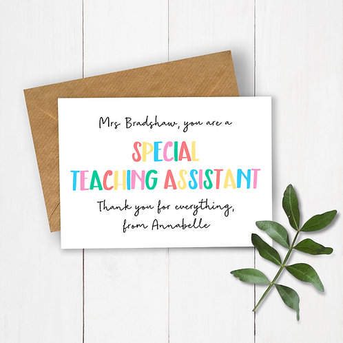 Special Teaching Assistant Personalised Card
