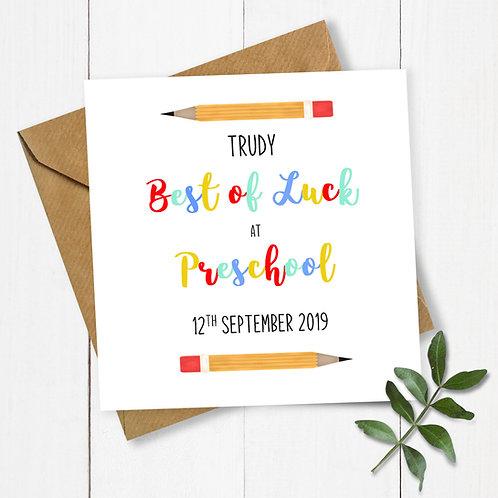 Personalised Pencils Best of Luck in Preschool Card
