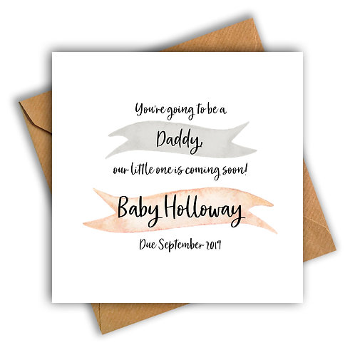 Personalised Ribbon Daddy Pregnancy Announcement Card