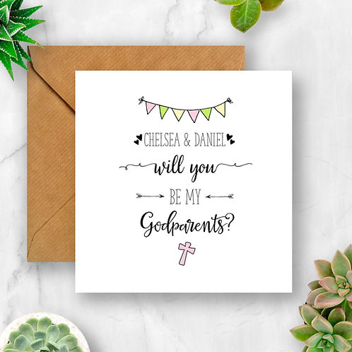 Perosnalised Will You Be My Godparents? Card