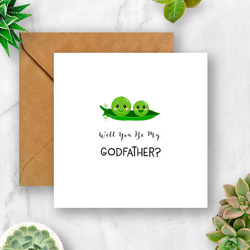 Peas Will You Be My Godfather? Card