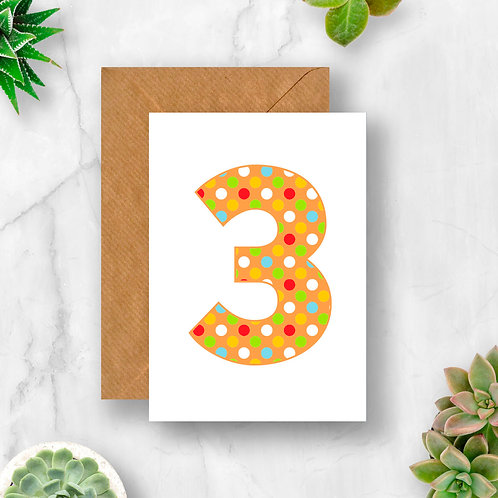 Bright 3rd Birthday Number Card