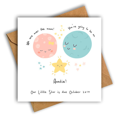 Personalised Moon & Star Auntie Pregnancy Announcement Card