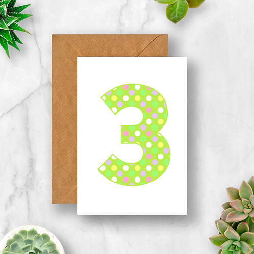 Pastel 3rd Birthday Number Card