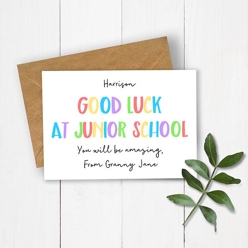 Personalised Rainbow Letters Good Luck at Junior School Card