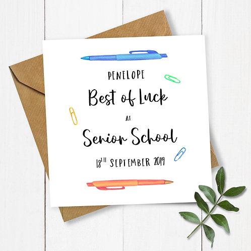 Personalised Pens Best of Luck at Senior School Card