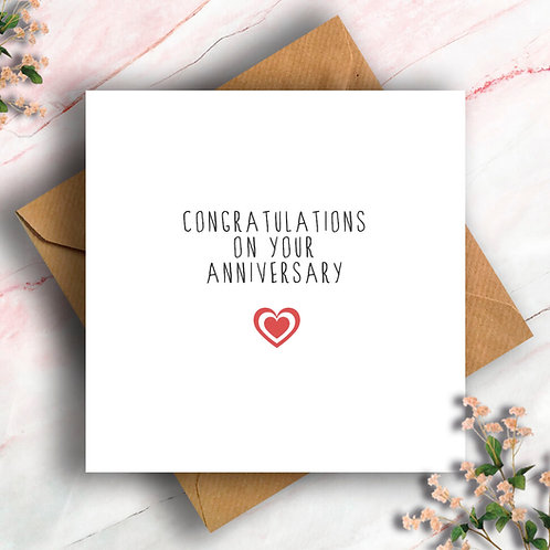 Heart Congratulations on your Anniversary Card