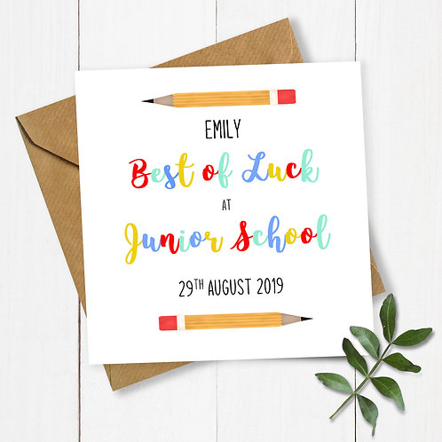 Personalised Pencils Best of Luck at Junior School Card