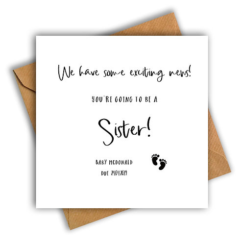Personalised Baby Feet Sister Pregnancy Announcement Card