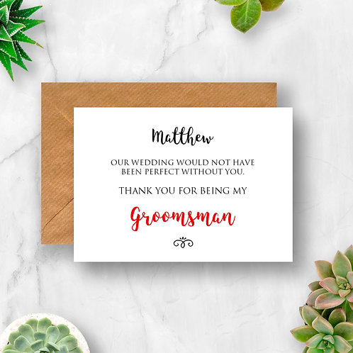 Personalised Groomsman Thank You Card