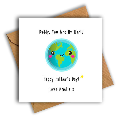 Personalised World Happy Father's Day Card