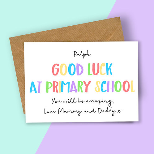 Personalised Rainbow Letters Good Luck at Primary School Card