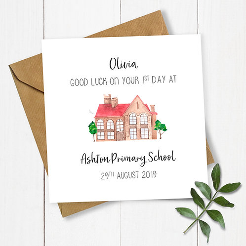 Personalised School Building 1st Day at School Card