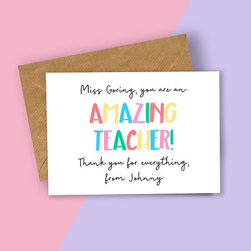 Amazing Teacher Personalised Card