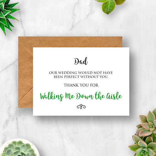 Personalised Walking Me Down the Aisle Thank You Card