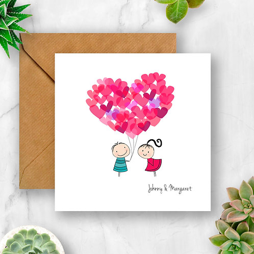 Boy & Girl with Heart Balloons Personalised Card