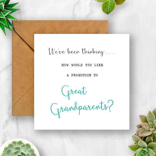 Promotion to Great Grandparents Pregnancy Announcement Card