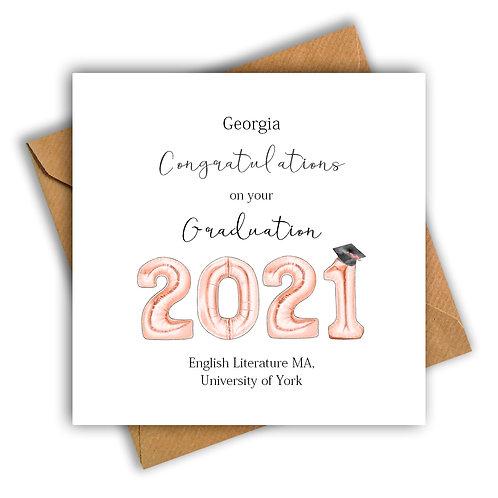 Personalised Balloon Graduation Card (Rose Gold)