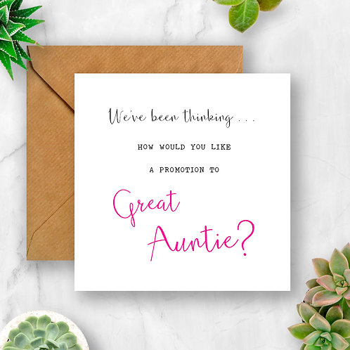Promotion to Great Auntie Pregnancy Announcement Card
