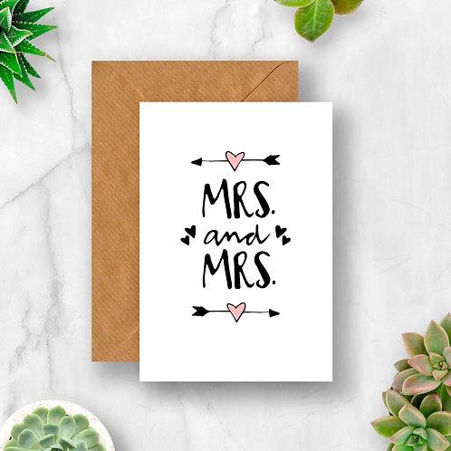 Mrs & Mrs Arrow Hearts Wedding Card