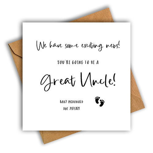 Personalised Baby Feet Great Uncle Pregnancy Announcement Card