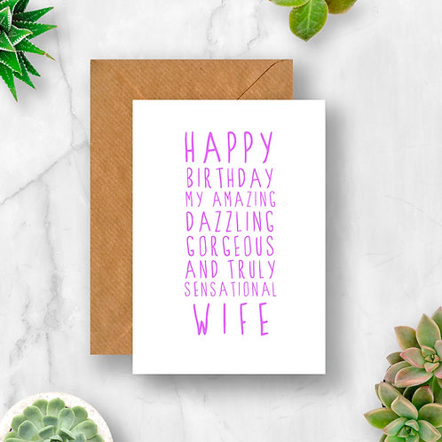 Sweet Description Happy Birthday Wife Card