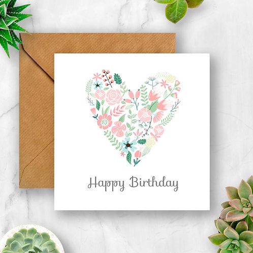 Heart Flowers Birthday Card