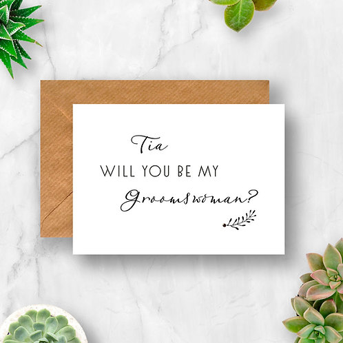 Personalised Will You Be My Groomswoman? Crystal Card