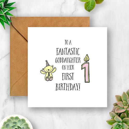 Girl Candle & Teddy Age Birthday Card