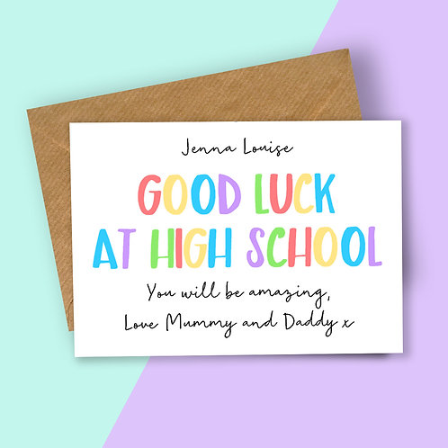 Personalised Rainbow Letters Good Luck at High School Card