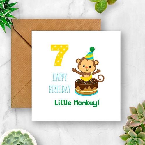 Little Monkey Birthday Age Card