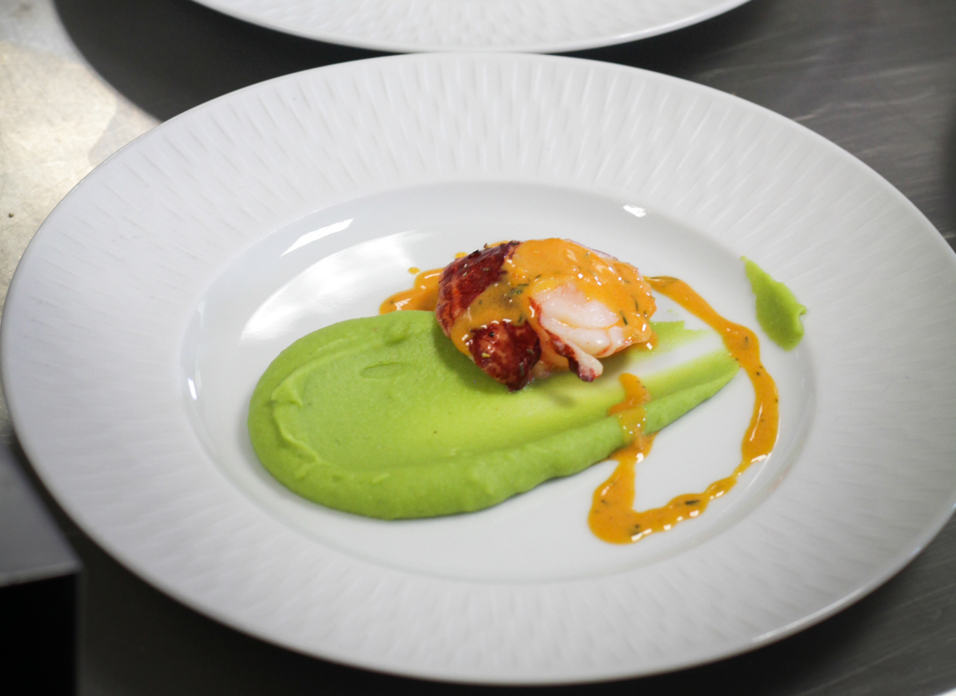 Fava bean puree with blue lobster