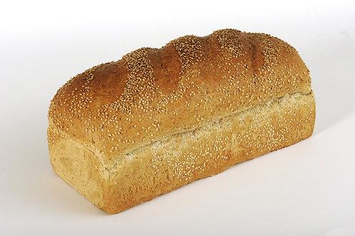 Vloerwit sesam brood gesneden