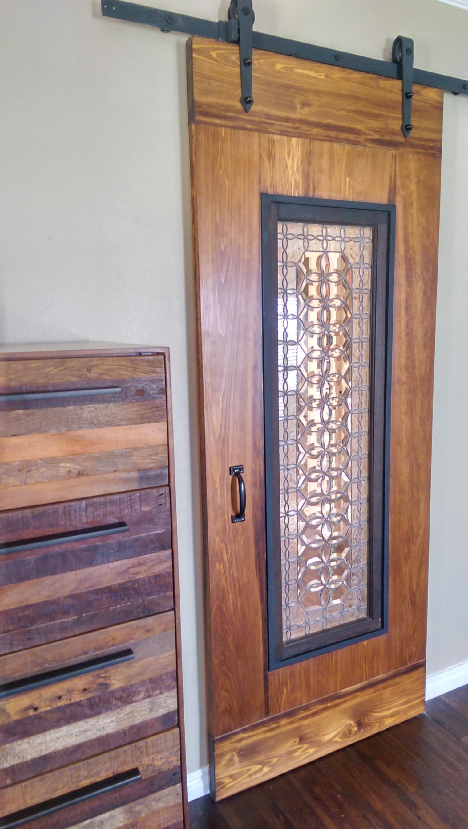 custom door with antique glass