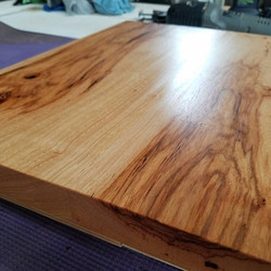 pecan & steel side table