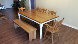 pecan farmhouse table & bench