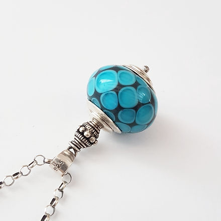 glass and sterling silver pendant odki