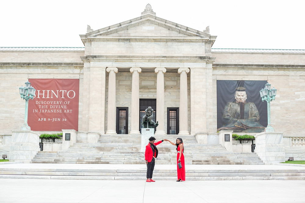 prom photos, prom pictures, cleveland prom, red prom dress, red prom suit, red tux, cleveland art museum