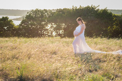 Glowing in a White Maternity Gown