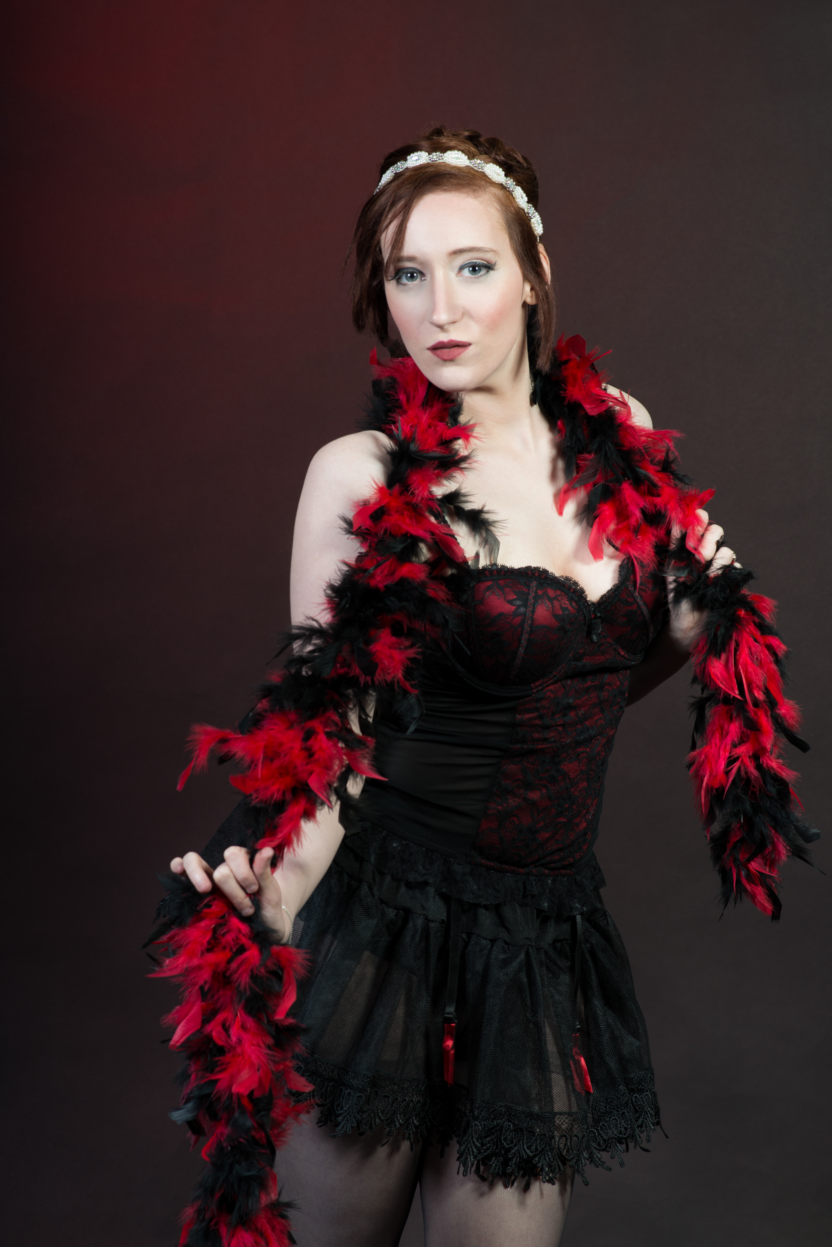 Burlesque Model with Boa in Studio