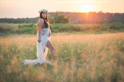 Mother to be, glowing at golden hour