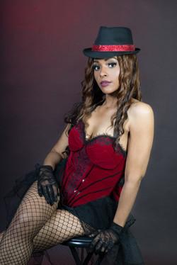 Burlesque with hat and corset-In Studio