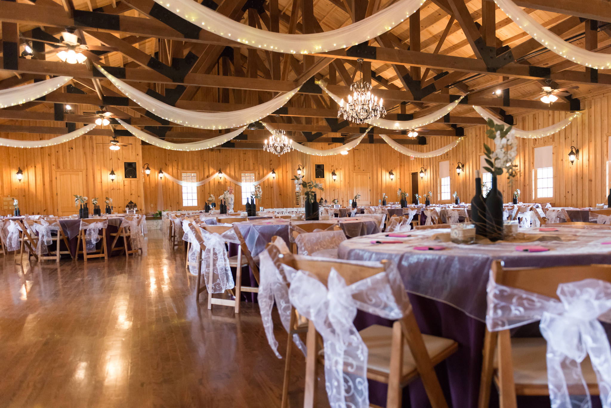 Wood beams and chandeliers equals amazing