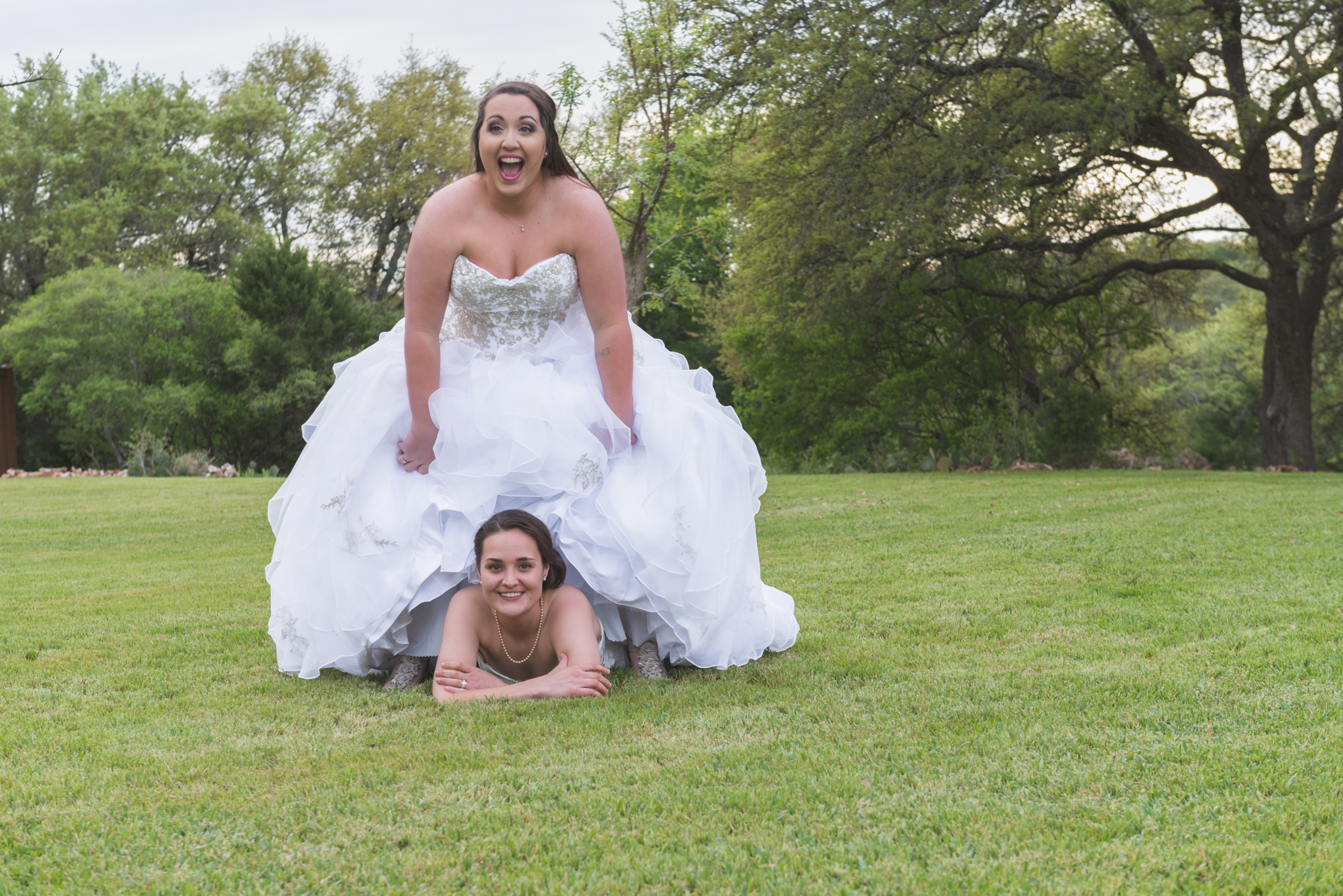 Brides having fun after the ceremony