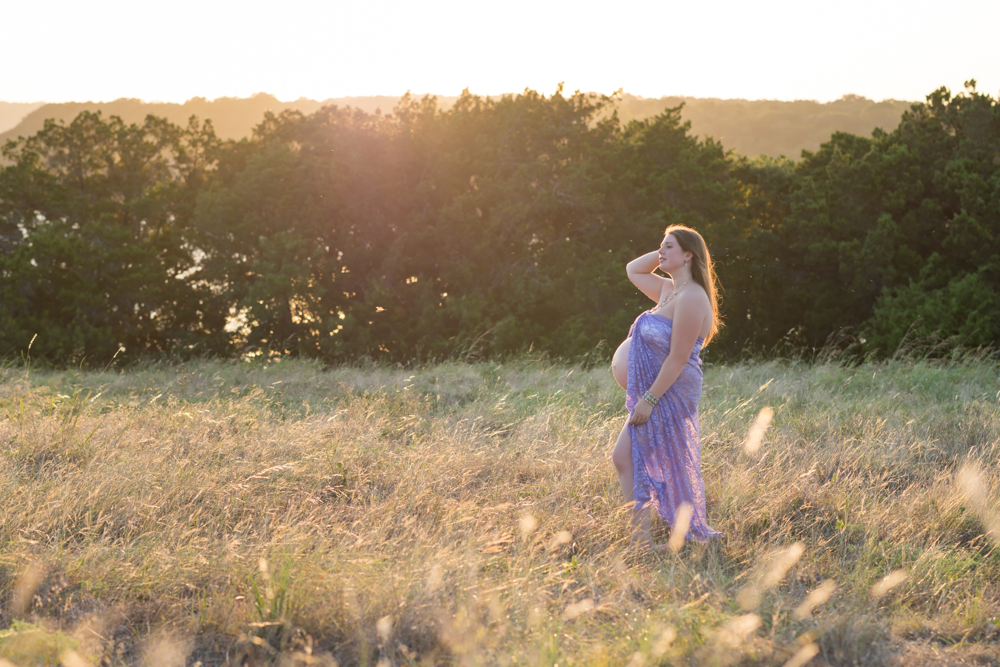 Proud Belly & Purple Lace Maternity Gown