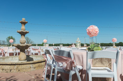 Pink flowers at a gorgeous venue